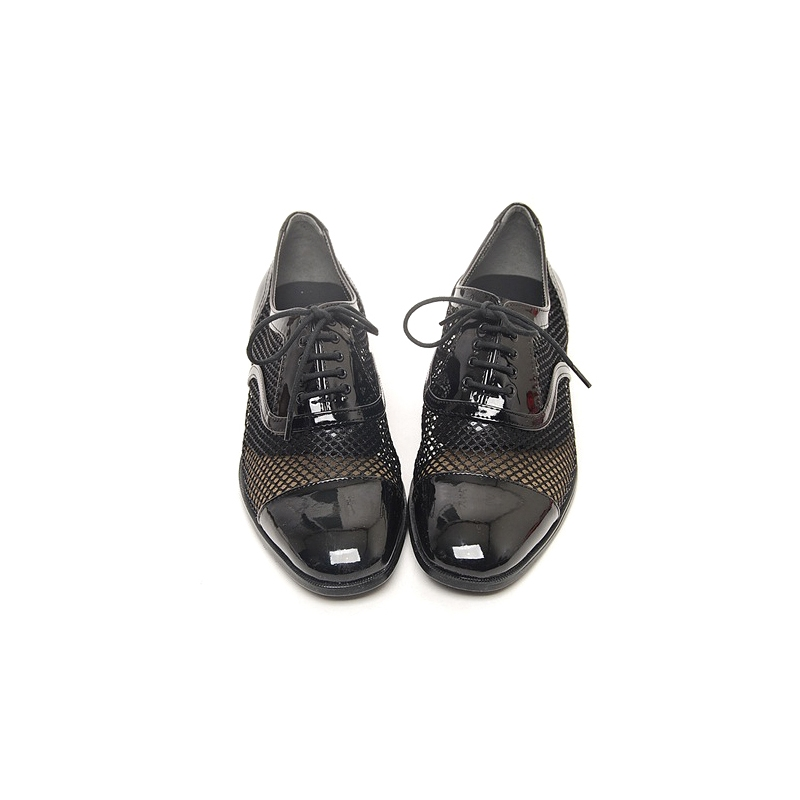 mens black mesh lace up synthetic leather dress shoes made