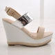 Womens chic celebrities classic style contrast tone wedges buckle sling back sandals shoes