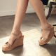 Womens chic celebrities classic style wedges sandals buckle ankle strap shoes black beige