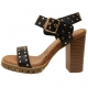 Womens chic celebrities studded ankle strap sandals black brown