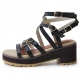 Womens chic gladiator ankle strappy sandals black beige