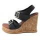 Womens chic studded thick platform wedge heels sandals black brown