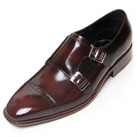 Mens red-brown two buckle  monk straight tip Dress shoes made in KOREA US 6.5 - 10.5