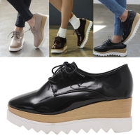 womens synthetic leather wood grain pattern platform lace up oxfords black beige wine