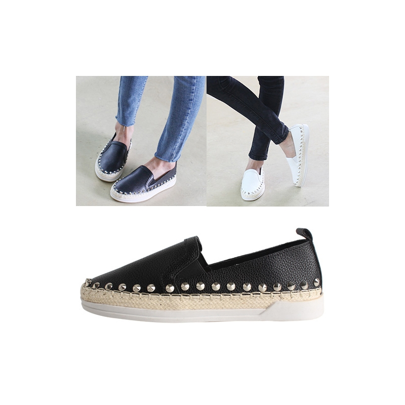 6b9f45dfa73 womens chic celebrity corn spiked studded slip-on shoes white black