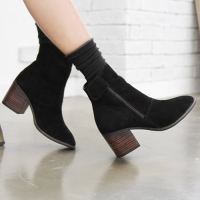 womens ankle velcro side zip suede black bold heels boots