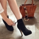Womens almond toe hidden platform killer heels ankle boots black brown