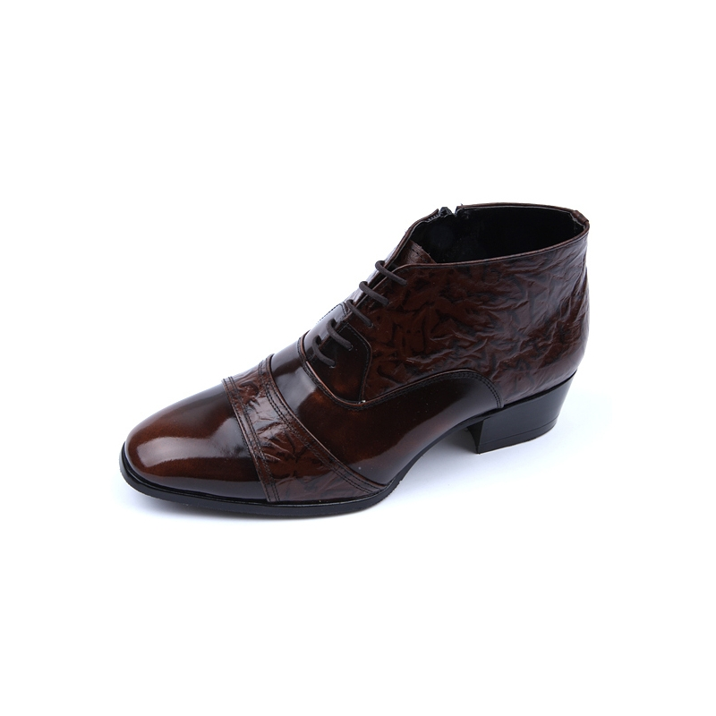 mens real leather wrinkle side zip closure brown ankle boots
