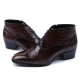 Mens real Leather wrinkle side zip closure brown ankle boots made in KOREA US5.5-10.5