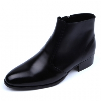 Mens real Leather plain toe side zip closure black ankle boots made in KOREA US5.5-10.5
