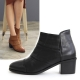 Womens almond toe side zipper mid heels ankle boots black brown
