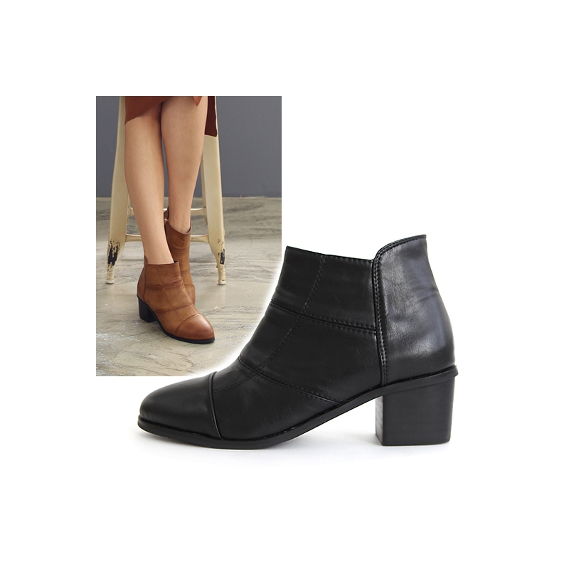 441ad7a954a3 Womens almond toe side zipper mid heels ankle boots black brown