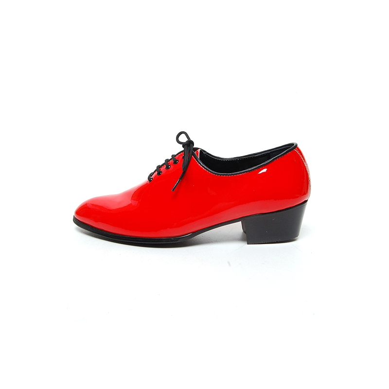 Mens Glossy Red Plain Toe Lace Up High Heels Oxfords Korea