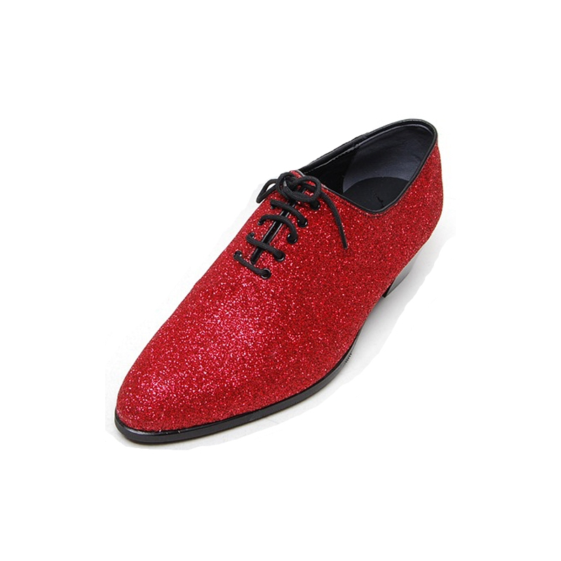 Mens glitter red plain toe lace up high heels oxfords korea ...