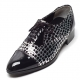 Mens synthetic leather glitter silver & dot black Lace up Shoes