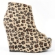 Womens open toe leopard brown fur thick platform zip high wedge heels ankle boots