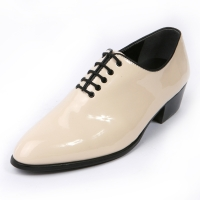 Mens glossy Ivory plain toe lace up high heels oxfords korea comfortable dress shoes
