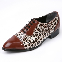 Mens synthetic leather glitter brown & leopard pattern Lace up Shoes