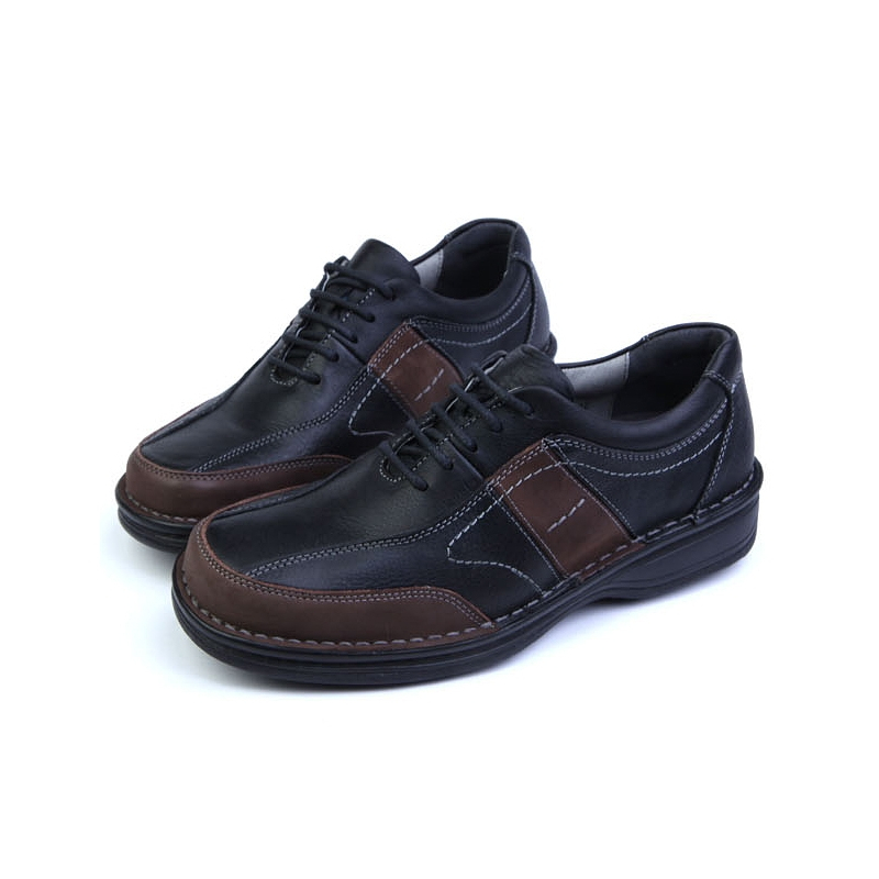 Mens Black Leather Urethane Sole Sports Fashion Casual