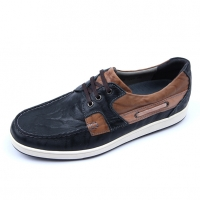Mens navy leather non-slip rubber sole sports fashion casual sneakers boat shoes
