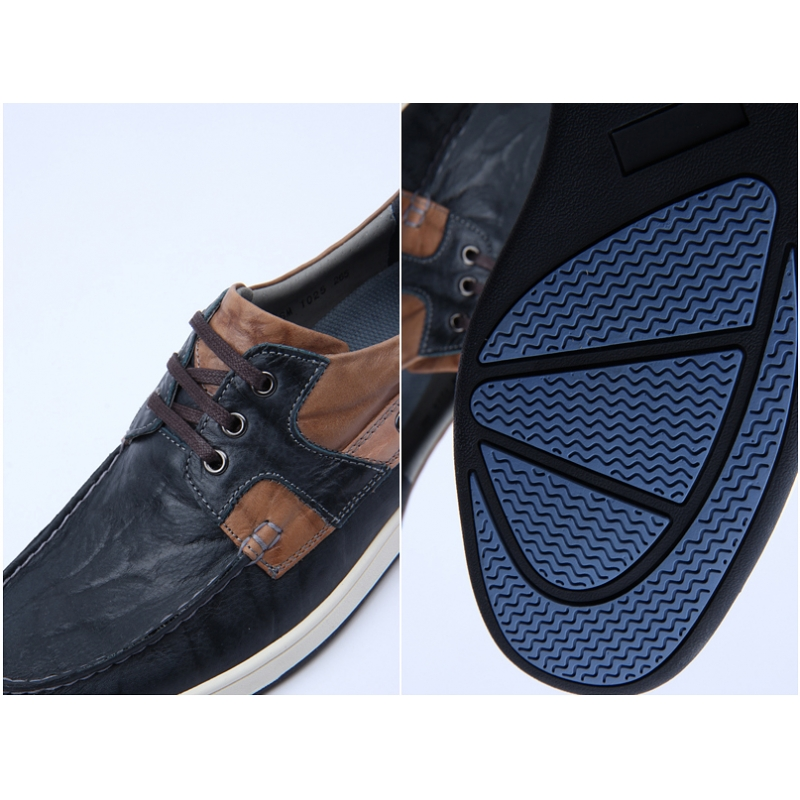 mens navy leather non slip rubber sole sports fashion
