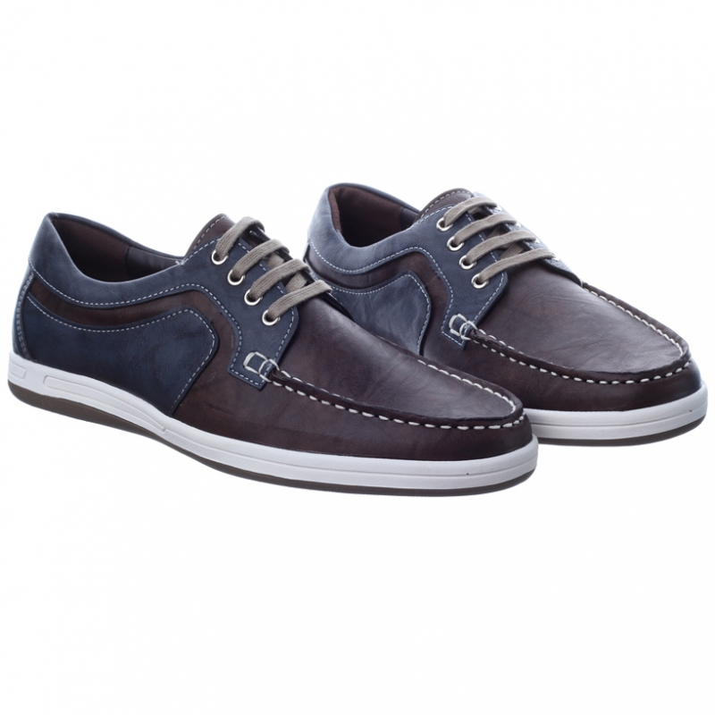 Mens Brown Synthetic Leather Non Slip Rubber Sole Lace Up