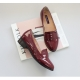 womens glossy red casual flats loafers