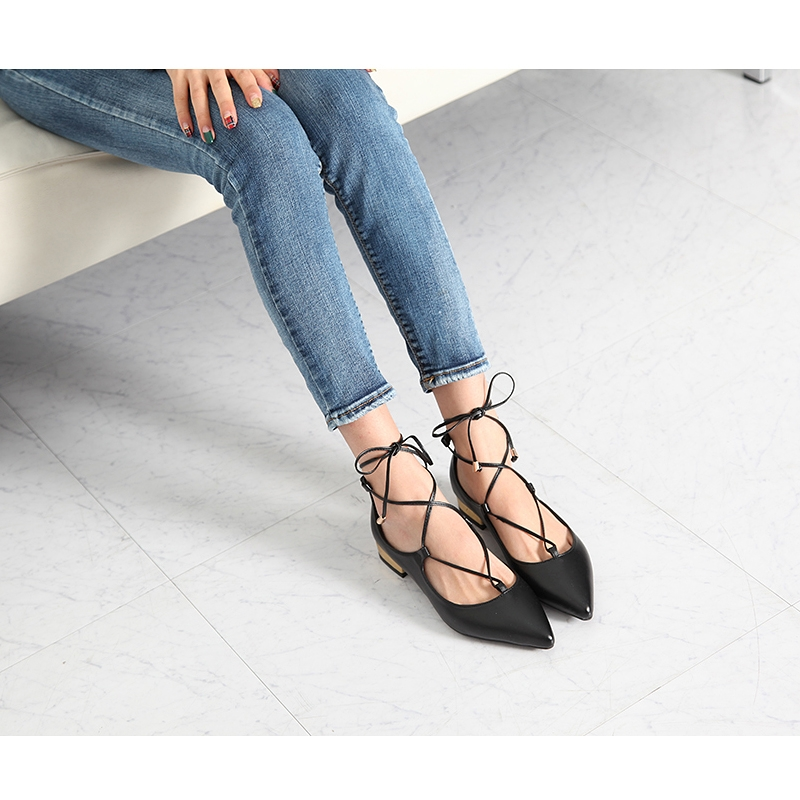 b6d564b402b Womens delicate wrap feet lace up pointed toe belgravia ballet flat shoes  US5.5-US8