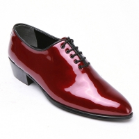 Mens glossy wine plain toe lace up high heels oxfords korea comfortable dress shoes