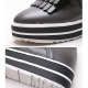 Women's contrast color platform tassel loafers black gray ivory