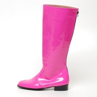Men's Glossy Pink inner leather back zip closure knee high Boots