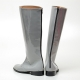 Men's Glossy Gray inner leather back zip closure knee high Boots
