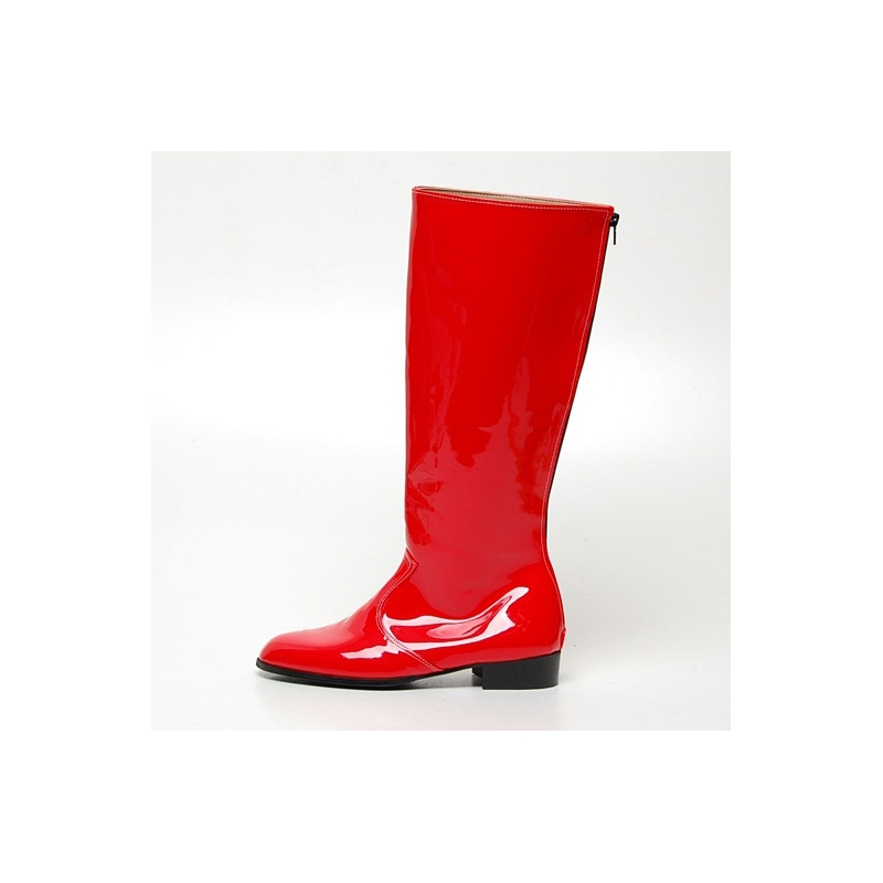 men S Glossy Red Knee High Boots
