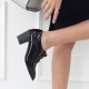 women's wide square toe glossy black lace up med heels oxfords