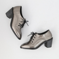 women's glossy dark silver lace up med heels oxfords