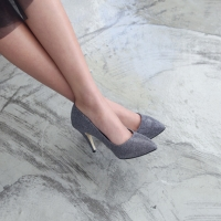 women's pointed toe glitter silver fabric covered pumps