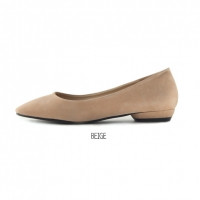 women's round toe real leather simple basic flats beige