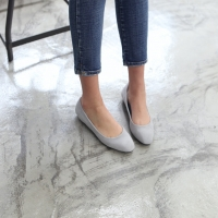 women's round toe real leather simple basic flats gray
