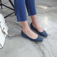 women's round toe real leather simple basic flats navy