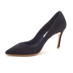Women's pointed toe black faux suede high heels pumps