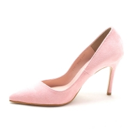 Women's pink faux suede pointed toe faux suede covered high heels pumps