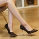 Women's black glitter black pointed toe gold metallic stiletto heels pumps