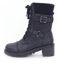 Women's cap toe knit trim layered look cap toe lace-up pull-tap combat sole contrast stitch double buckle side zip ankle boots