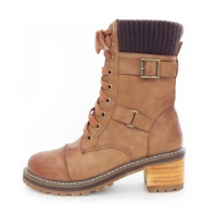 Women's cap toe knit trim layered look brown lace-up pull-tap combat sole contrast stitch double buckle side zip ankle boots