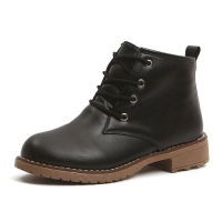 Women's plain toe black lace-up pull-tap contrast stitch ankle boots