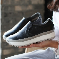Women's real leather thick platform slip-on insert elastic gores sneakers
