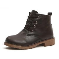 Women's plain toe brown lace-up pull-tap contrast stitch ankle boots