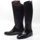 Men's black cow leather side zip top end snap button riding knee boots