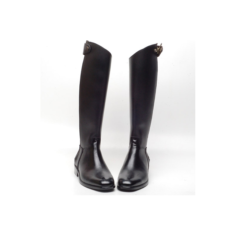 men s black cow leather side zip riding knee boots