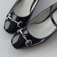Women's glossy black front horsebit chain trim mary jane pumps mid chunky heels